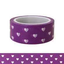 20pcs/set Kawai Cartoon Washi Tape Brilliant Purple Love Lovers Holiday DIY Decorative Heart Stickers Washi Tape Wholesaler(China)
