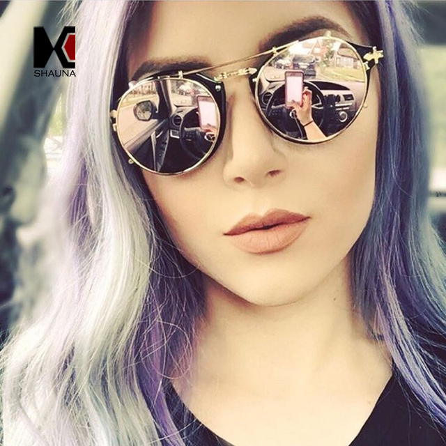 88a1a014705184 SHAUNA Vintage Femmes Ronde Steampunk lunettes de Soleil Hommes Flip  Séparable Lentille Miroir lentille lentille