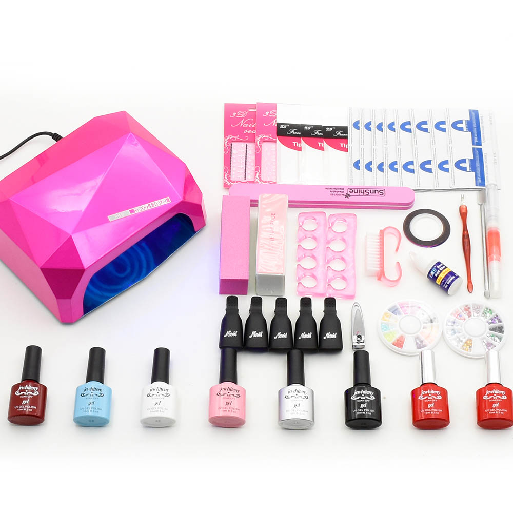 Nail art Set Nail Gel Manicure tools kit UV LED Lamp nail dryer 6 Gel Polish UV Gel varnish Top Base Coat sticker remover file em 128 free shipping uv gel nail polish set nail tools professional set uv gel color with uv led lamp set nail art tools