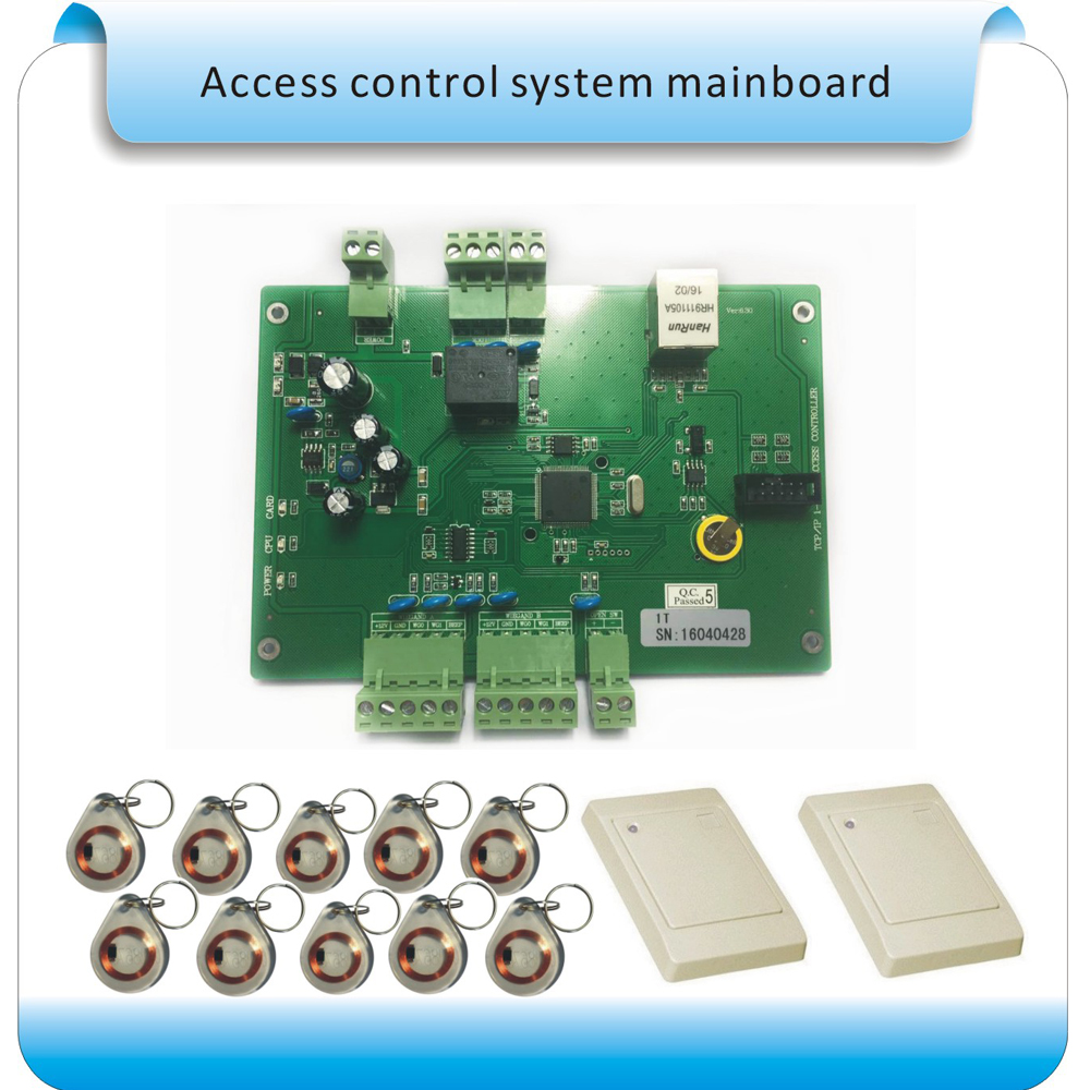 TCP/IP 1 door double RFID reader access control panel access control board door access control system +2 reader+10 crystal tags