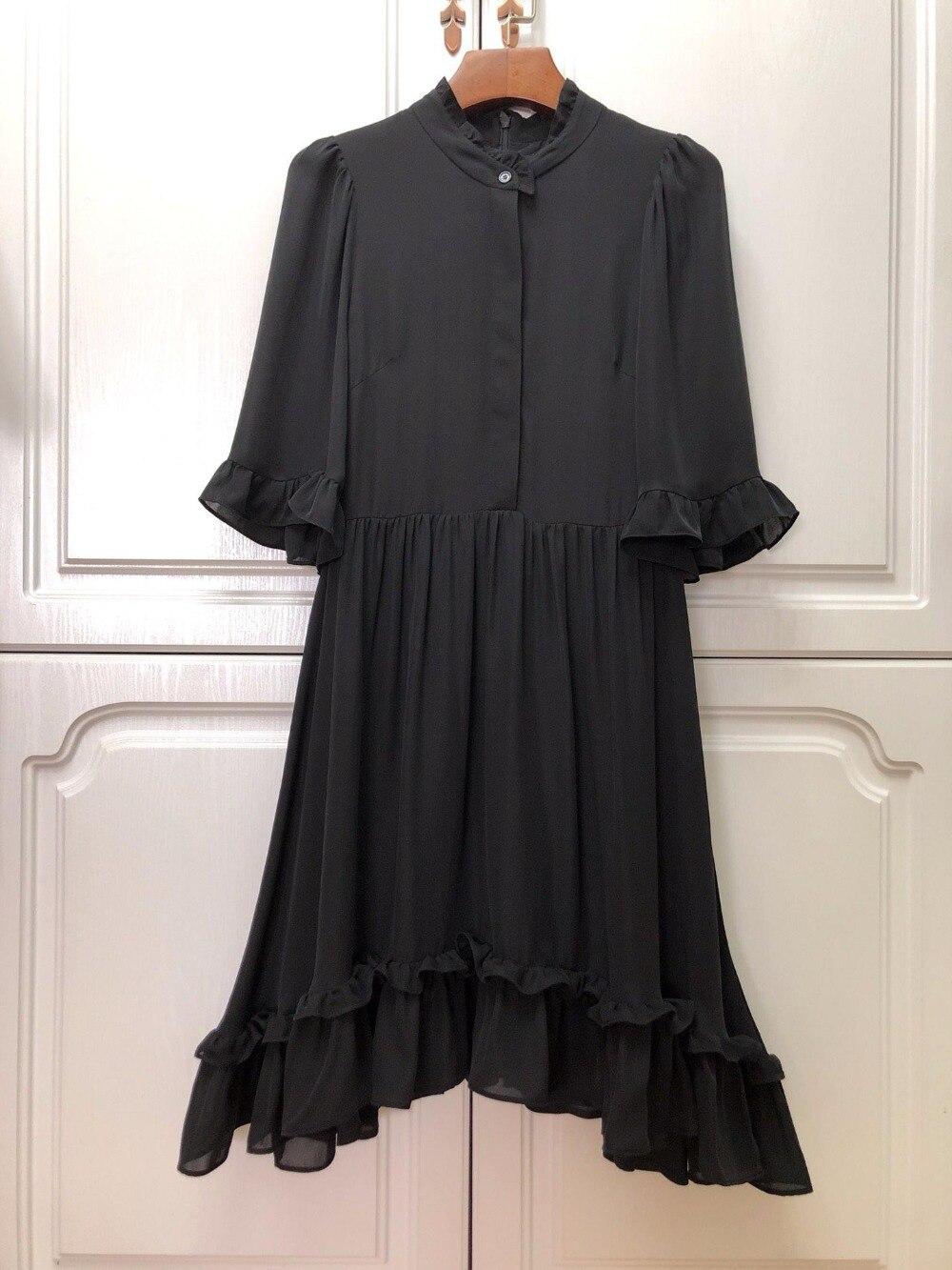 2019 spring new ladies high quality lotus leaf sleeve black elegant ladies dress 0316