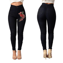 2017 Hot Fashion Rose Embroidery Ripped Jeans Sexy Women Floral Print Skinny Jeans Women Pants Vintage Denim Pants Plus Size