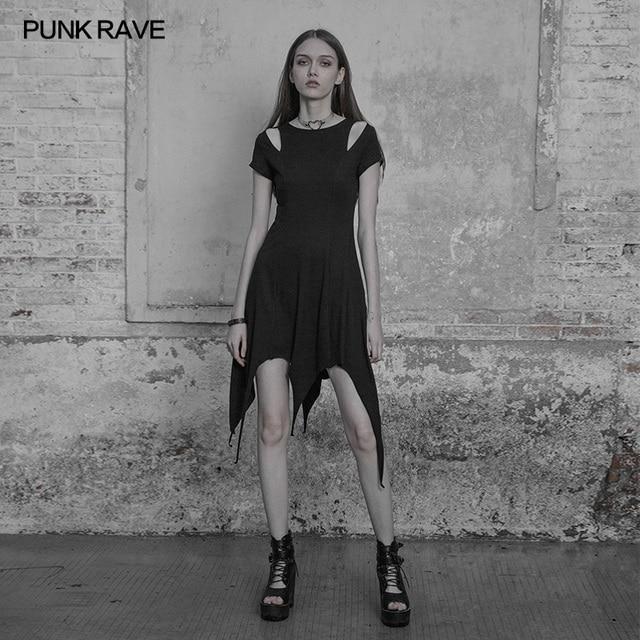 Fashion Irregular Hem Dress Gothic Proper Segmentation Showing Proportion Of Stature Hollow Shoulder Dress PUNK RAVE OPQ-316LQF 1