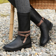 Ladies big shoes 41-43 flat shoes leisure woman high boots round toe female winter boots snow retro handmade boots
