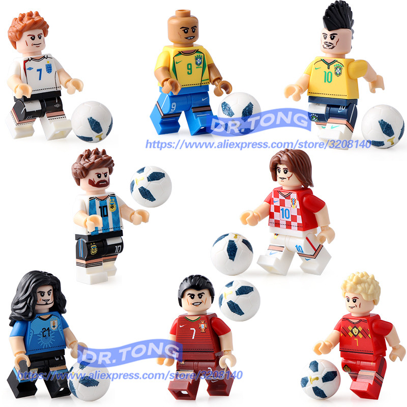 DR.TONG 8pcs/lot XP013 -XP020 RonalCroatian Soccer Player Luka Modric Action Figure Bricks Educational Learning Children Toys