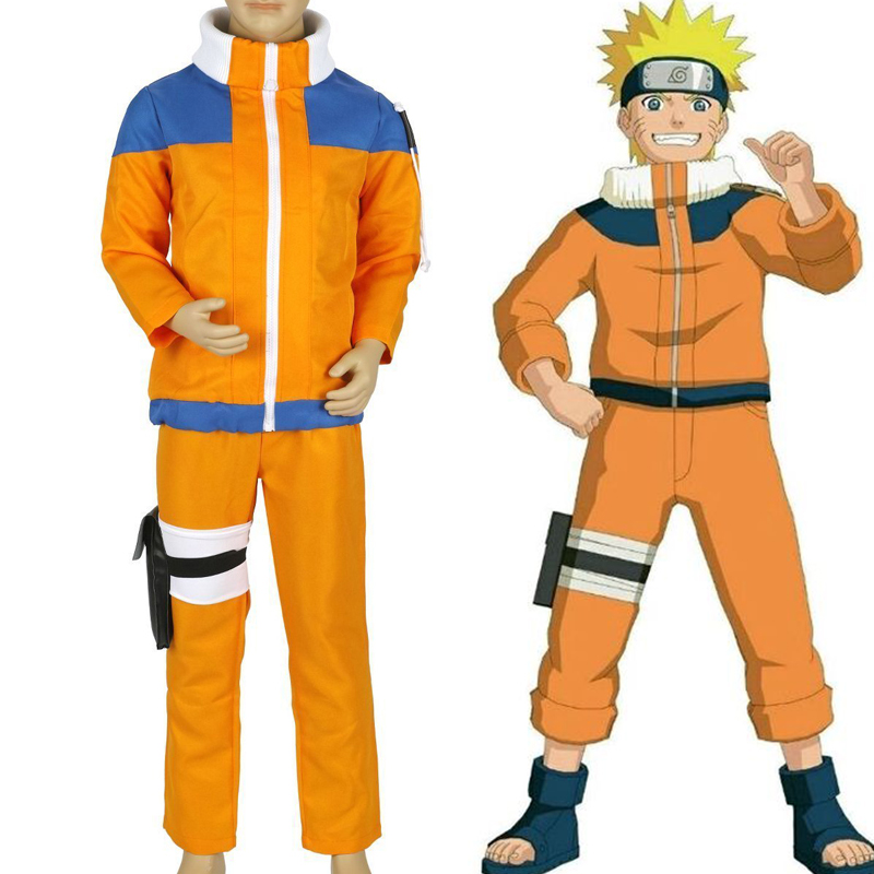 Anime Naruto Uzumaki Coat jacket Pants Suit Cosplay Costumes  Full Set