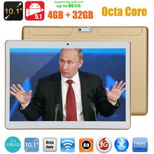 Tablet 3G de 10 pulgadas con ocho núcleos, android 5.1, 4GB RAM, 32GB ROM, 5 megapixeles, doble sim card, bluethooth, GPS, tableta de 9.6 / 10.1 pulgadas, tablet pc