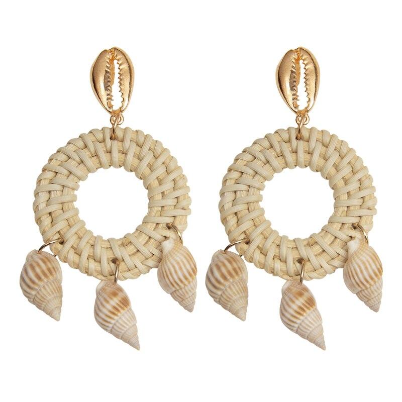 AnpassungsfäHig Ohrringe 2019 Tropfen Shell Ohrring Anhänger Mode Frauen Der Metall Ohrringe Schmuck Große Stroh Ohrring Geschenk Für Besten Freund