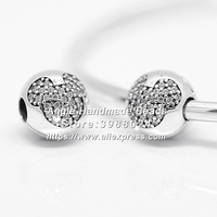 Fashion S925 Sterling Silver Beads Mickey Pave Cz Clip Charms Fit European DIY Bracelets Necklace Jewelry Making S007