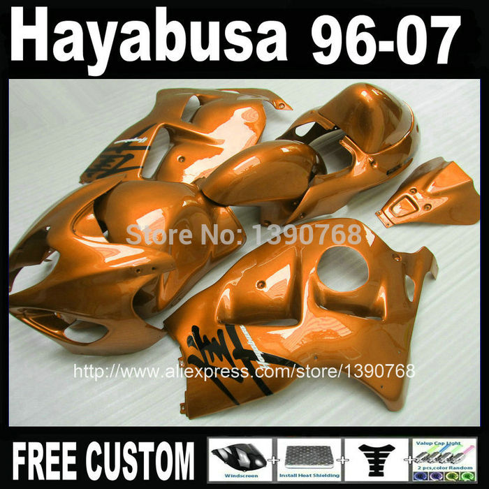 100% new  for SUZUKI Hayabusa fairing kit GSXR1300 1996-2007 all golden fairings set GSX1300R 96-07 FF19 + 7 Gifts free customize mold fairing kit for suzuki gsx 600f 750f 95 96 97 05 red black fairings set gsx600f 1995 1996 2005 lm41