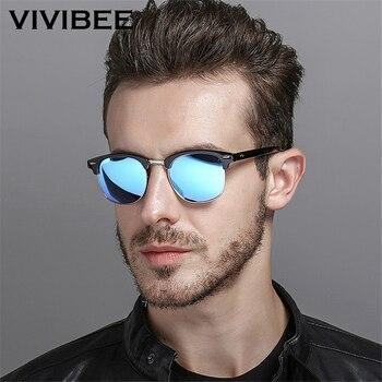 cb3ff6b739 VIVIBEE clásica Plaza hombres gafas de sol mujer gafas de sol polarizadas  hombre azul lente espejo conductor de calidad superior polarizada tonos
