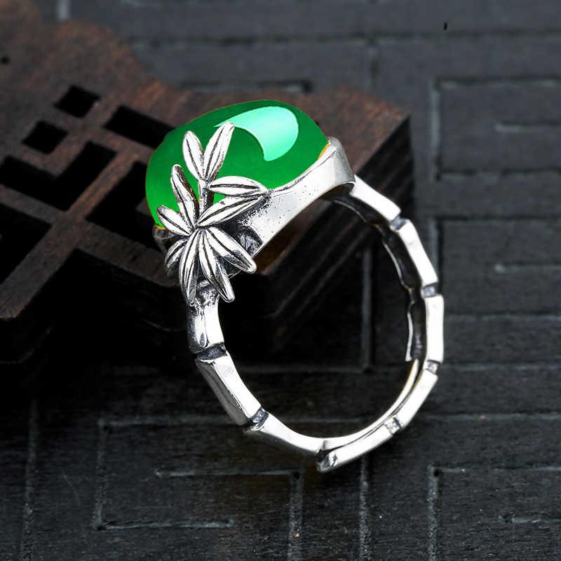 12*16 มม.ไม่ปลอม S925 เงินสเตอร์ลิงออสเตรเลียแหวนมรกตหยก moldevite Chinatown oriental Retro Chalcedony