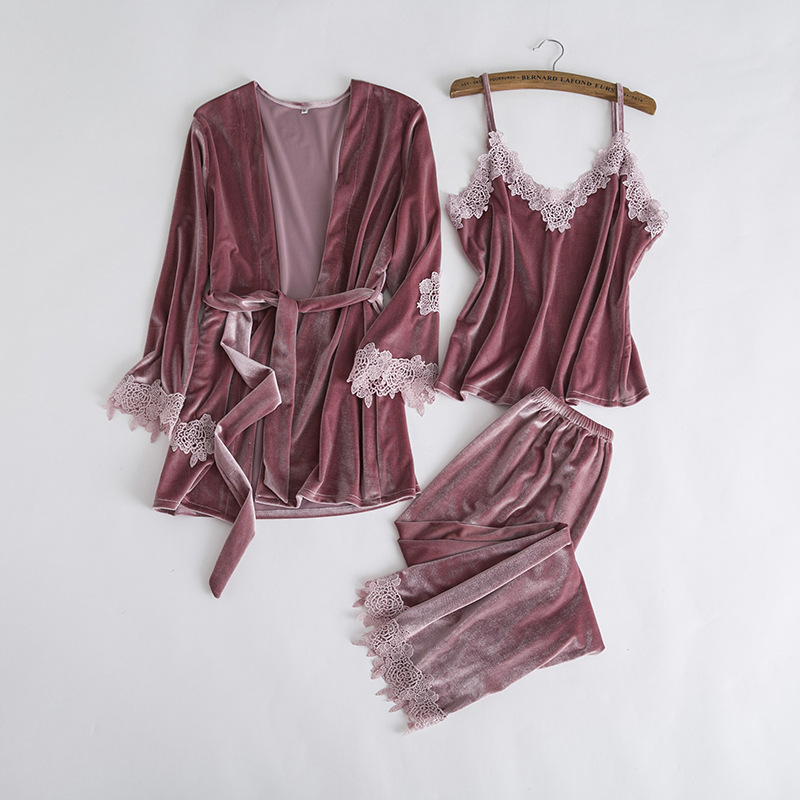 Comfortable Velvet Sleepwear Set Elegant Women 3PCS Lace Home Wear Pajamas Pijamas Suit Negligee Sexy Solid Warm Nightwear M-XL