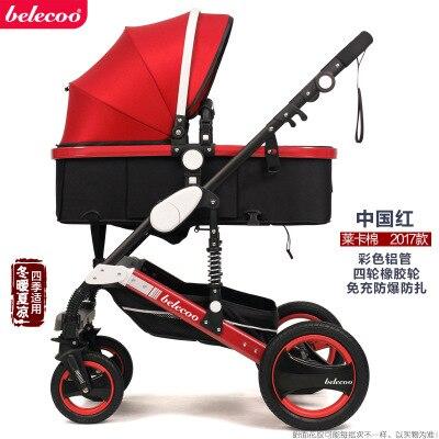 Belecoo Высокая Пейзаж Роскошная детская коляска 0-36 месяцев коляска надувной натуральный каучук колеса детская коляска - Цвет: China red