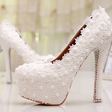 Custom Made 2015 Sweetness White Flower Lace Platforms Pearl Wedding Shoes Bridal Dress High Heels Bridesmaid Shoes