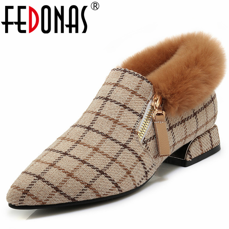 FEDONAS Retro Plaid Women High Heels Autumn Winter Pumps Sexy Pointed Toe Party Wedding Shoes Woman Ladies Slip On Prom Shoes fedonas new women pumps 2018 mary jane high heels sexy pointed toe slip on wedding party shoes for lady buckles female pumps