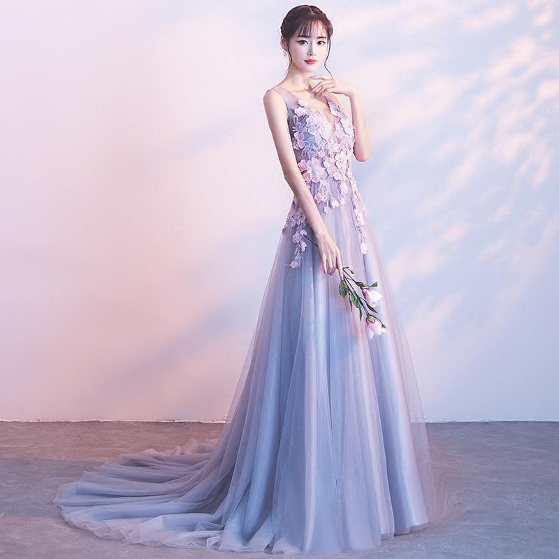Robe de soirée 2019 nouveau été élégant robe de traînée Sexy v-cou femmes robe Floral Appliques Bandage robe longue robe