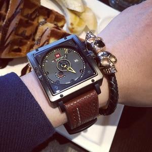 Image 3 - Naviforceメンズクォーツスポーツウォッチファッショントップブランドの革ストラップクリエイティブ防水腕時計男性時計レロジオmasculino