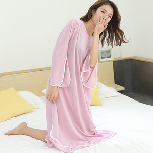 Image 5 - 2019 summer new plus size casual dress women sleepdress female for weight 100kg nightdress loose home clothing sleepshirts