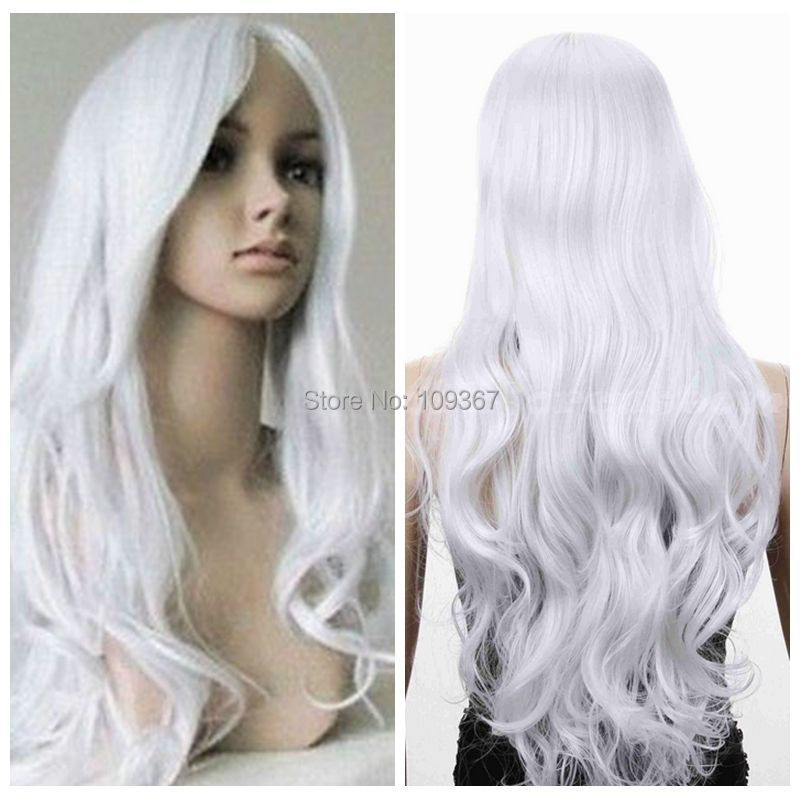 Long White Curly Wavy Western hair Full Fancy Dress Wig Spiral High  Resistant Long no Lace Front brazilian queen Extra Hair Wigs f561eb699cb8