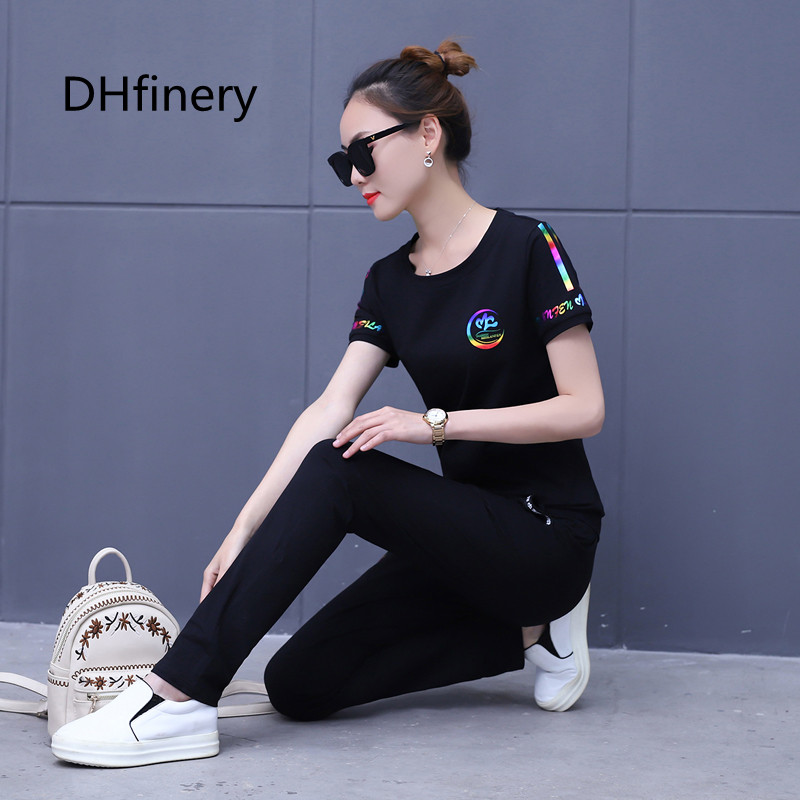 Round neck print casual sportswear two piece women s short sleeved shirt trousers loose cotton cover