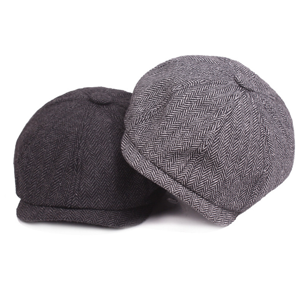 20170ab3 2019 Summer Hat casquette Black Grey Herringbone Newsboy Baker Boy Tweed Flat  Cap Mens Gatsby Hat