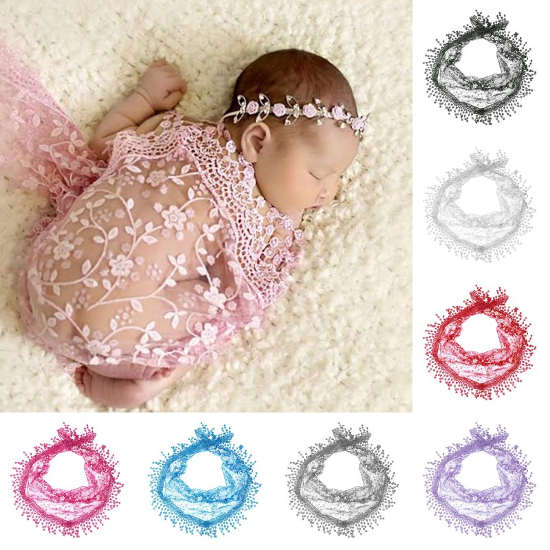 Hot sale Newborn Babys Photography Receiving Blanket Lace Wrapped Yarn Baby Photography Props