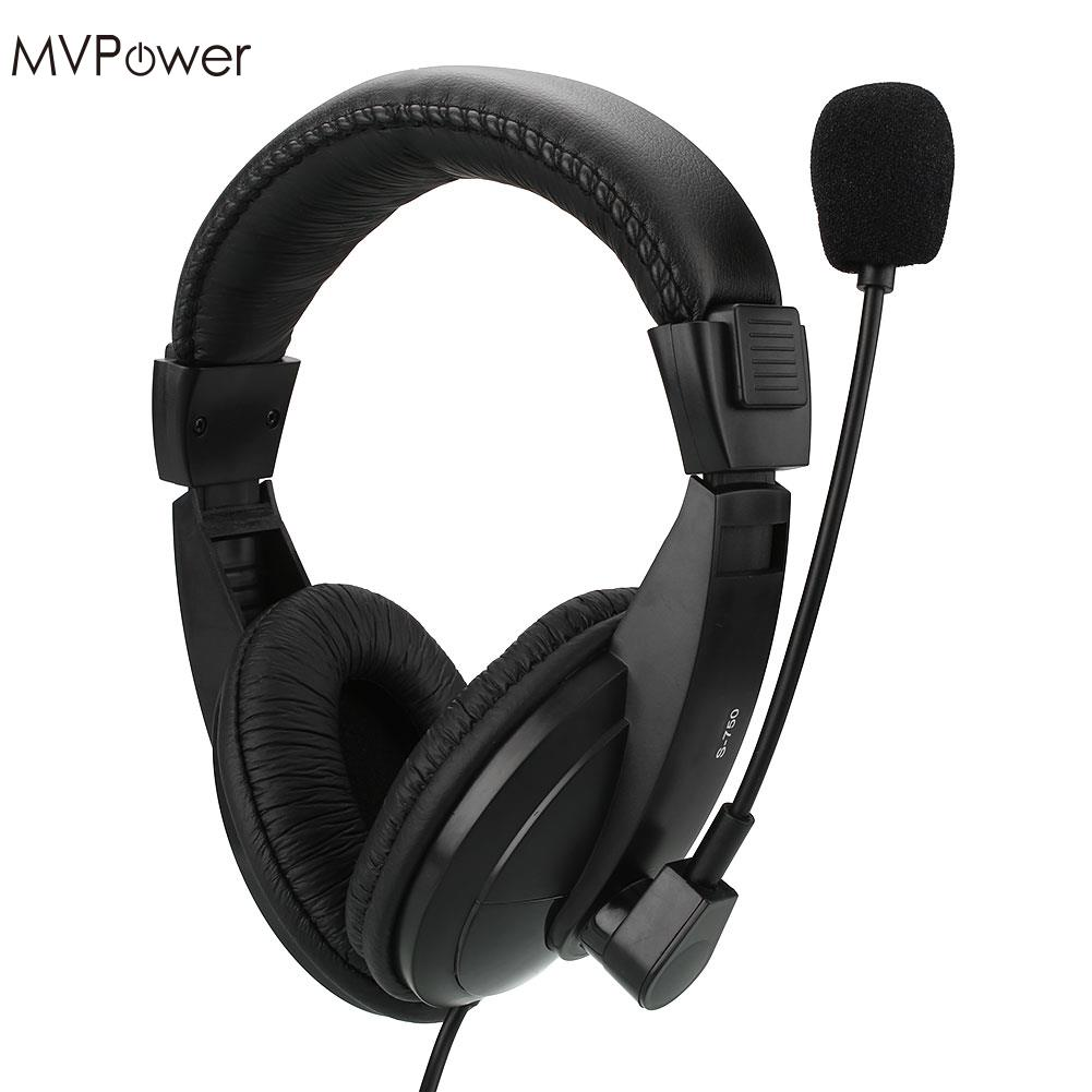 MVpower 1.6m Wired 3.5mm Headset Headphones Bass Stereo with Microphone Mic Game Computer PC Laptop Promotion Earphone rock y10 stereo headphone microphone stereo bass wired earphone headset for computer game with mic