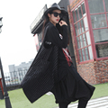 Новая мода 2016 Улица стиль Весна Кардиган в Полоску женские топы женщины черный длинный жилет повседневная ласточкин хвост уличной, FD-003