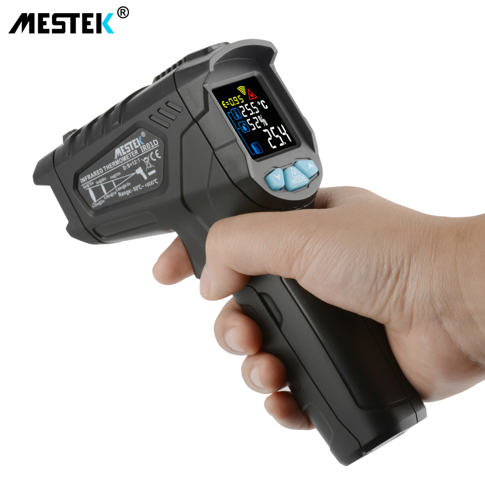 MESTEK Non Contact Infrared Thermometer with 50 to 800C Temperature Range and Alarm 2