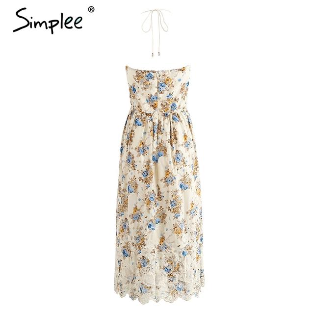 Simplee Vintage print beach summer dress women Bow backless halter long dress Chiffon flower lace up dress vestidos sundress