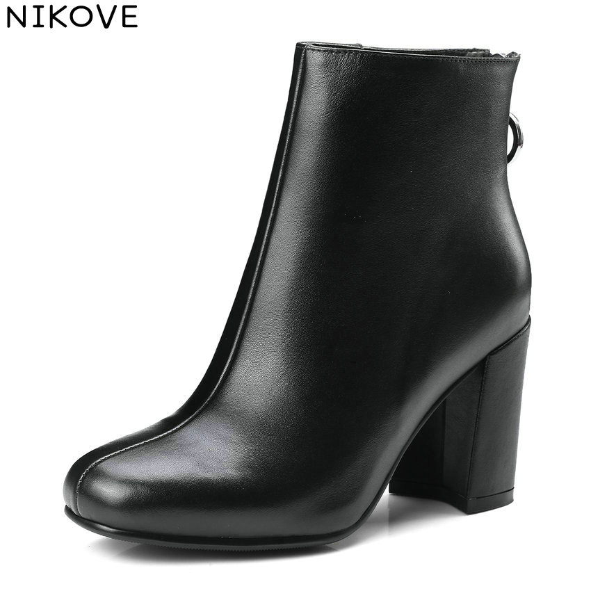 NIKOVE 2018 Zippers Solid Women Boots Vintage Style Ankle Boots Square High Heel Square Toe Ladies Fashion Boots Size 34-39 nikove 2018 women boots western style ankle boots square high heels pointed toe short plush pu blue ladies boots size 34 42