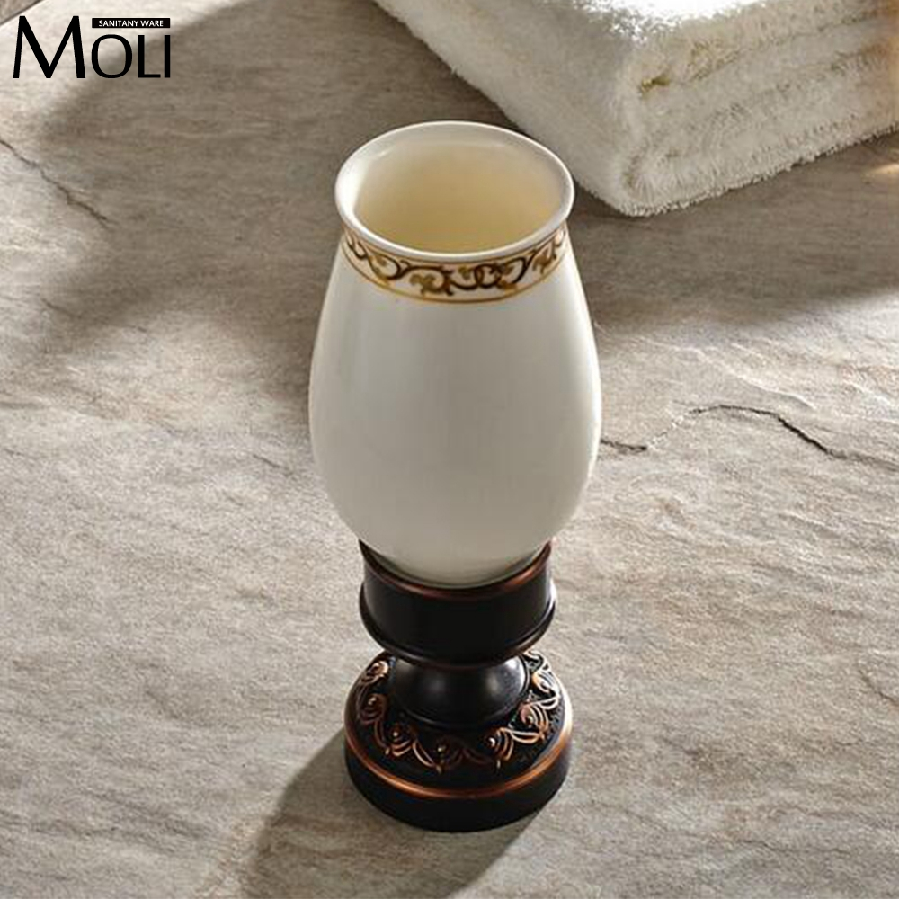 ФОТО New arrival flower carved bath deck mount toothbrush holder single ceramic cup with metal holder tumbler holder