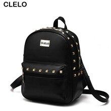 Clelo 2017 новое поступление женские заклепки рюкзак дамы как яркие цвета элегантный дизайн популярны среди молодых людей простой и тонкий