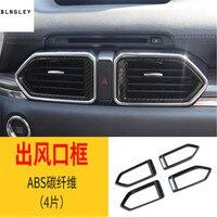 4pcs/lot ABS Carbon fiber grain front air conditioning outlet decoration cover for 2017 2018 Mazda CX 5 CX 5 CX5 MK2