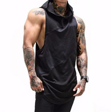 PADEGAO men's fitness hoody tank top black white summer sleeveless hoodies tees muscle workout Singlet t shirt hiphop tank top цена