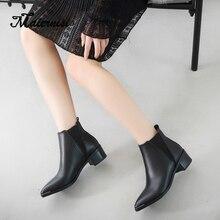 MAIERNISI Women Ankle Boots Design Fashion Square High Heel Round Toe All Match Ladies Motorcycle Boots for ladies цена в Москве и Питере
