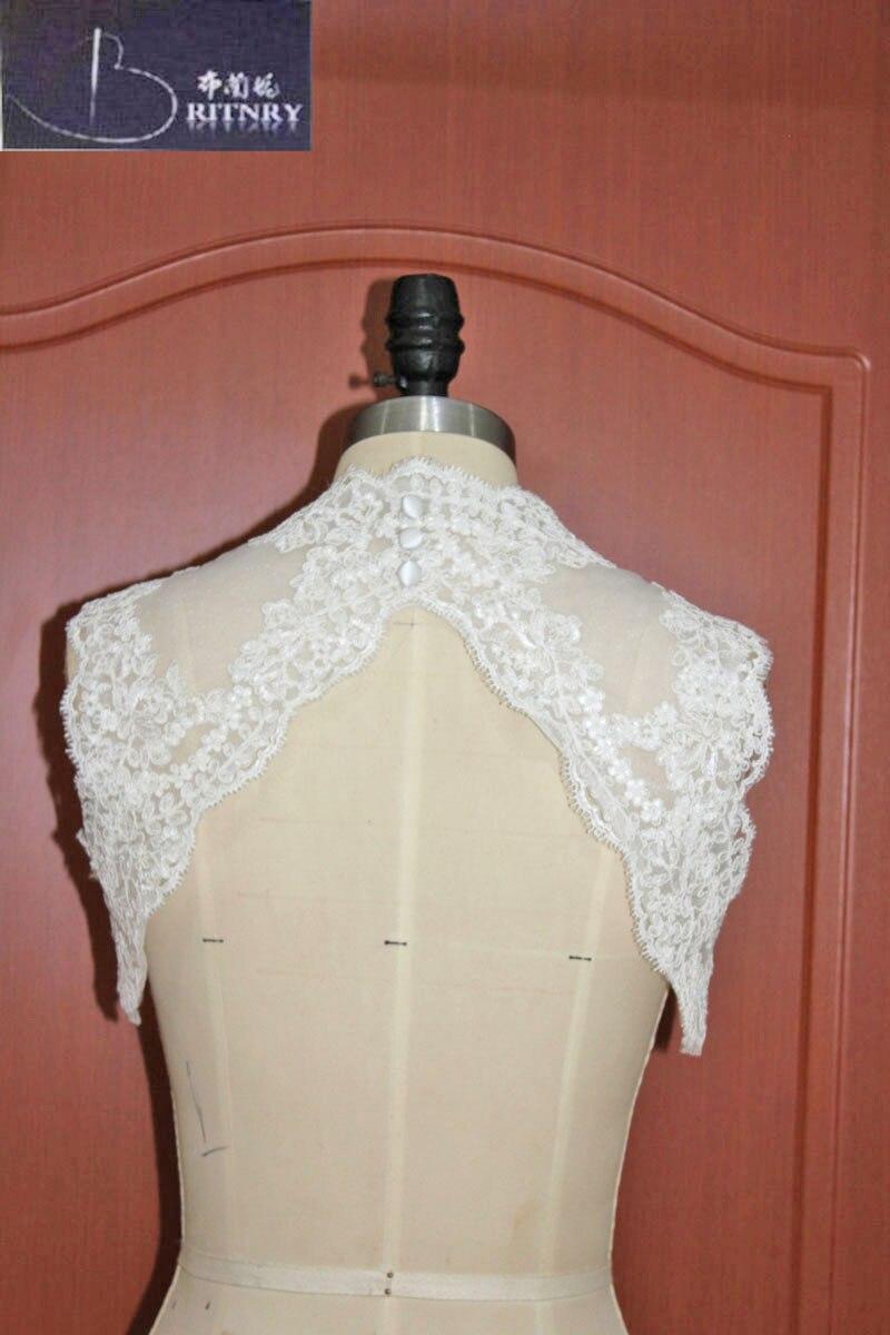 9c3a1df63 Chaqueta de novia de marfil blanco Bolero corto nupcial cabo apliques novia  encogiéndose de hombros personalizado hecho
