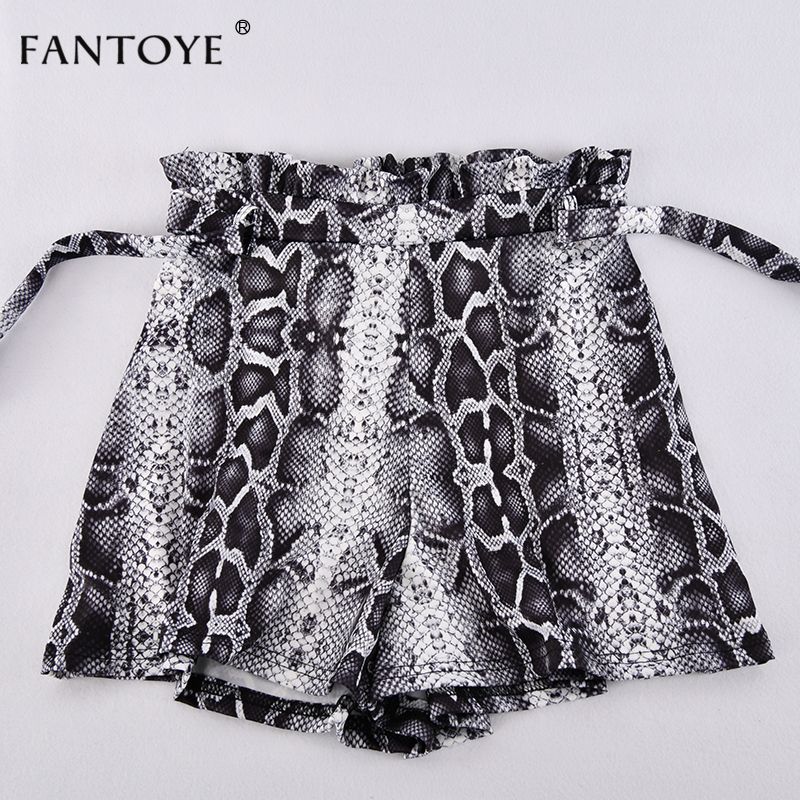 Snake Print High Waist Shorts Women Autumn Paper Bag Sexy Elegant Fashion Lace Up Ruffle Mini Ladies Shorts Skirts 42
