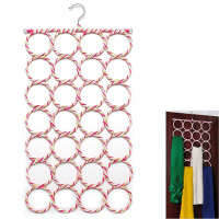 Fashion 28 Hole Ring Rope Scarf Wraps Shawl Storage Holder Hook Hanger Decor Room