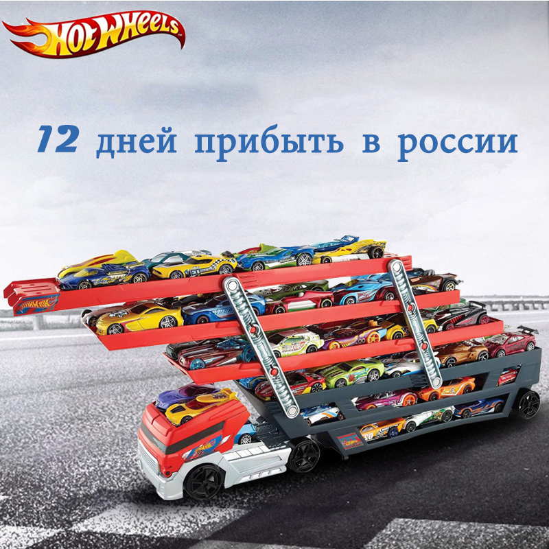 Hotwheels Truck Toy Storage Box Car Container Scalable Parking Floor Hot Wheels Transport Truck Toys Christmas