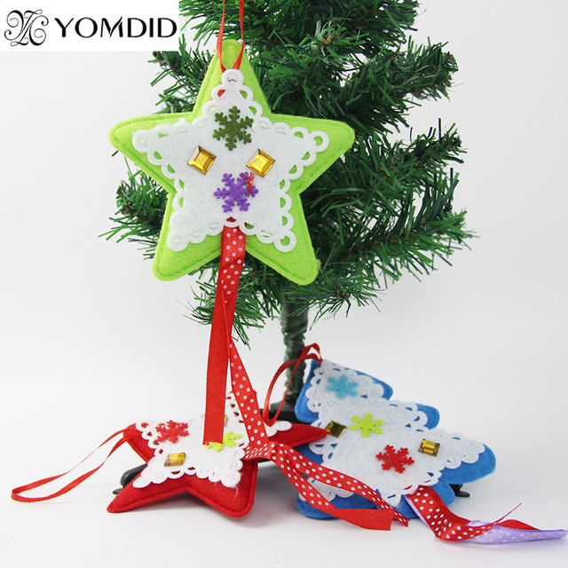 Us 2 24 25 Off 4 Pcs Lot Christmas Decpration Christmas Tree Decoration Fabric Cloth Tree Star Design Christmas Ornaments Party Gifts In Pendant