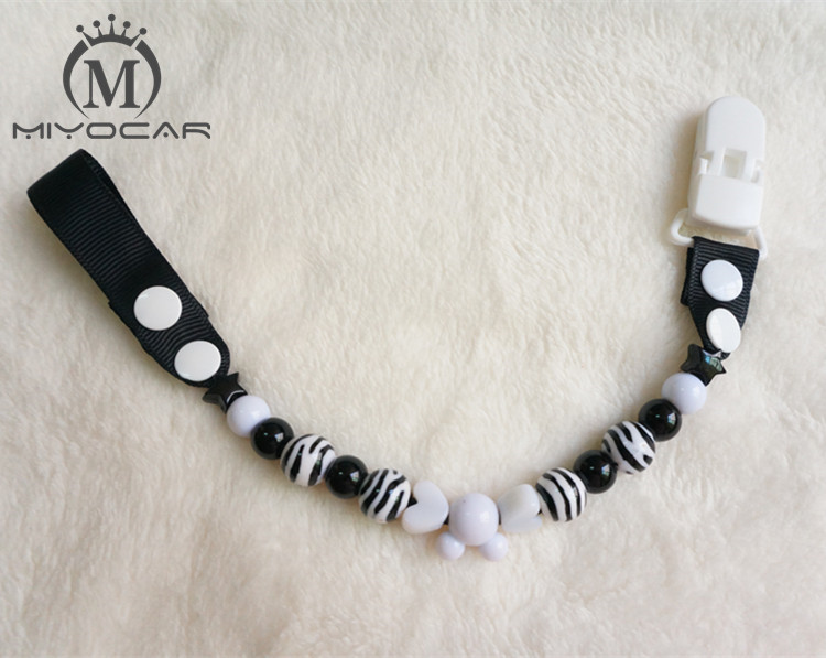 MIYOCAR Stunning Stripe farverige sjove perler håndlavede pacifier kæde / pacifier klip / Dummy clip / Tethers clip / pacifier holder