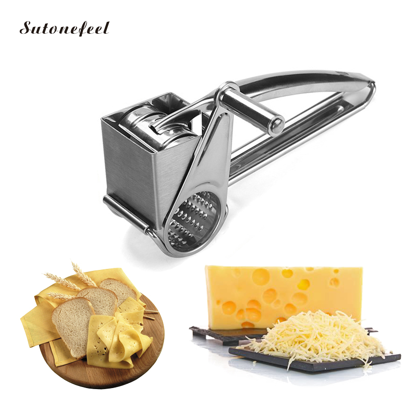 Stainless Steel Rotary Cheese Grater Food Grade Cheese Shredder Cheese Slicers Garlic Grinder Kitchen Accessories image