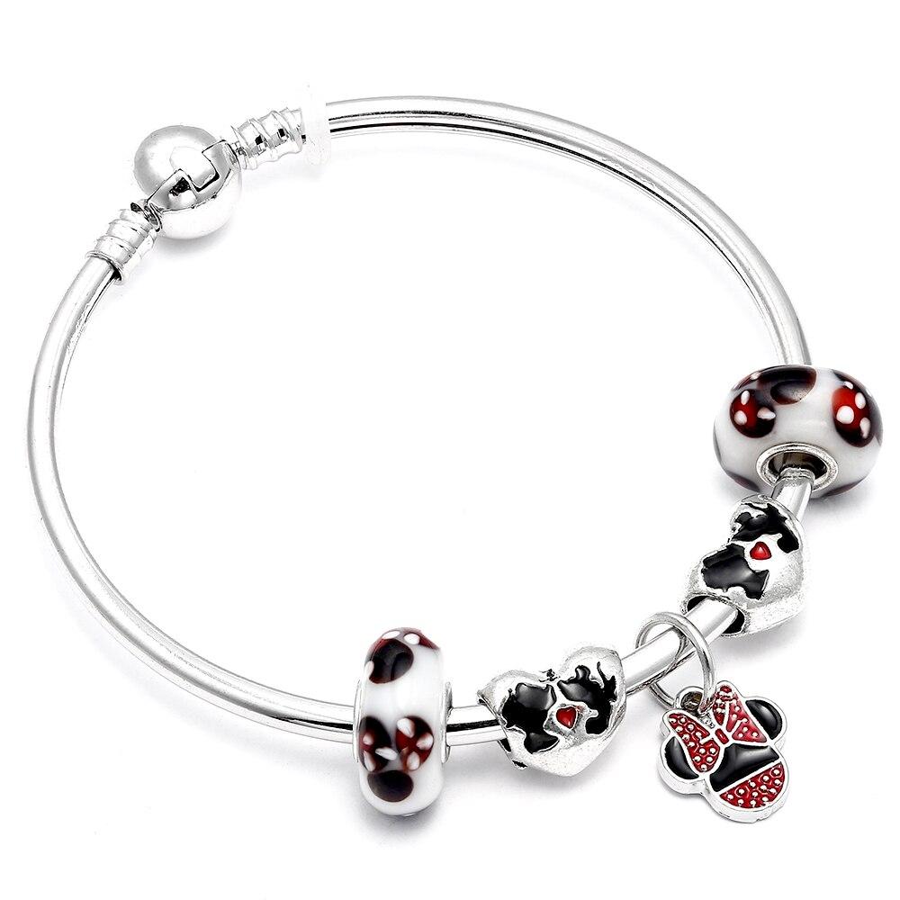 Dropshipping Mickey & Minnie Murano Glass Beads Charm Bracelet Handmade DIY Pandora Bracelet For Women Children Jewelry Gifts