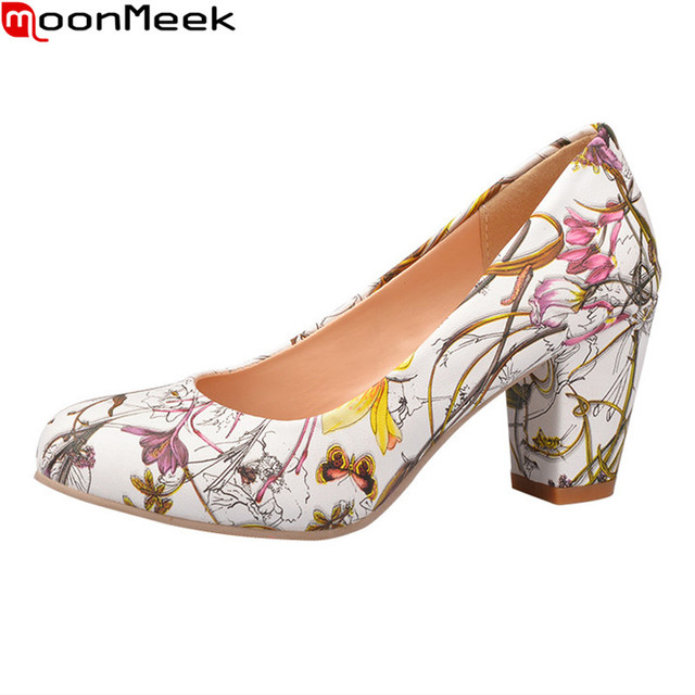 Elegant style plus size 31-43 thick high heels quality pu leather mixed colors fashion women pumps round toe comfortable shoes