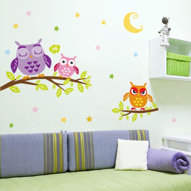 [SHIJUEHEZI] Owl Wall Sticker Animal Tree Branch PVC Cartoon Wall Decals  For Kids Rooms Reading Room Mural Sticker Home Decor In Wall Stickers From  Home ...