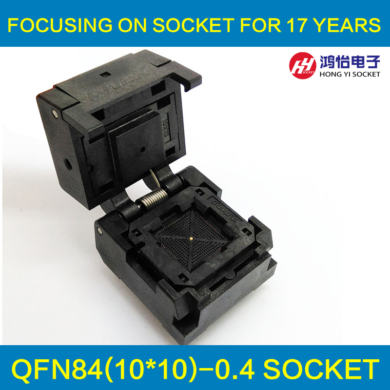 QFN84 Burn in Socket QFN84 MLF84 IC Test Socket Pitch 0.4mm Clamshell Chip Size 10*10 Flash Programming Adapter IC549-0844-018-G free shipping sop32 wide body test seat ots 32 1 27 16 soic32 burn block programming block adapter