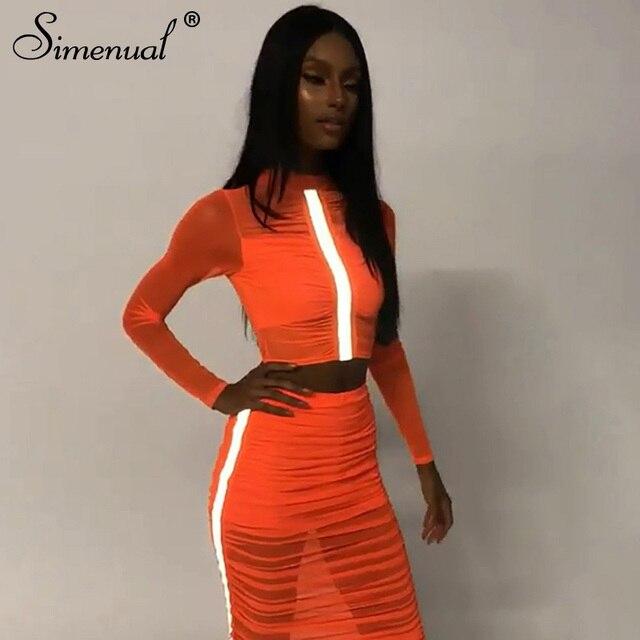 Simenual Giản Dị Phản Quang Sọc 2 Mảnh Váy Thiết Sexy Trong Suốt Ruched Trang Phục Phụ Nữ Lưới Màu Neon Váy Và Top Set hot