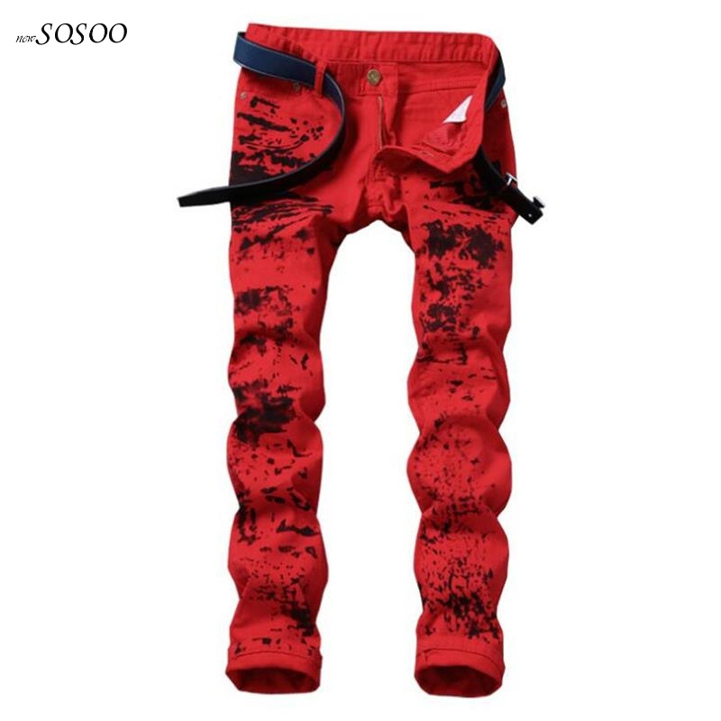 New men   jeans   stretch Skinny   jeans   splash-ink pants fashion red printing slim fit pencil pants high quality men   jeans   #591